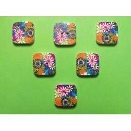 LOT 6 BOUTONS BOIS : carré motif fleur 15mm (n°10)
