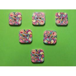 LOT 6 BOUTONS BOIS : carré motif fantaisie 15mm (n°09)