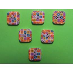 LOT 6 BOUTONS BOIS : carré motif fleur 15mm (n°08)