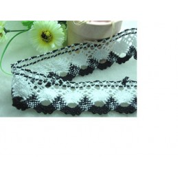 GALON CROCHET : blanc/noir 100cm largeur 40mm (63)