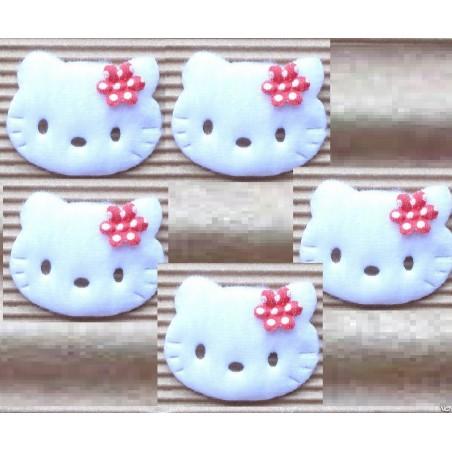 LOT 5 APPLIQUES TISSUS POLAIRES : tete de chat blanc 40 x35mm