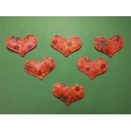 LOT  6 APPLIQUES TISSUS  : coeur fleuri 34  x25mm