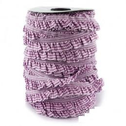 RUBAN ELASTIQUE : vichy violet/blanc 20mm longueur 100cm