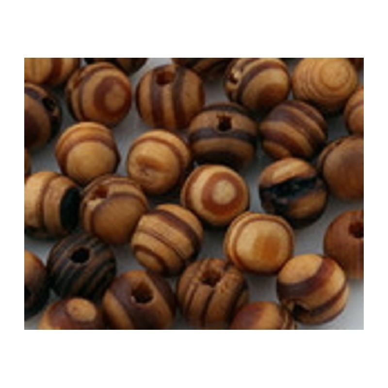 50 perles rondes matiere bois marron 6 mm