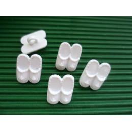 LOT 6 BOUTONS : chausson blanc 15mm