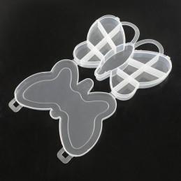 Boite vide plastique à compartiments forme papillon 18*14cm