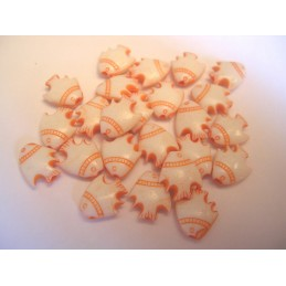 LOT 20 PERLES ACRYLIQUES : poisson orange/blanc 8mm