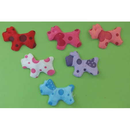 LOT 6 APPLIQUES TISSUS POLAIRES : chien multicolore 60 x40mm