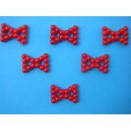 LOT 6 APPLIQUES PERLES PLASTIQUES : noeud papillon rouge 16mm