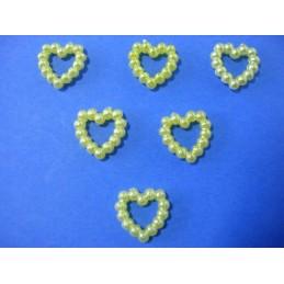 LOT 6 APPLIQUES PERLES PLASTIQUES : coeur jaune 11mm