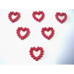LOT 6 APPLIQUES PERLES PLASTIQUES : coeur rouge 11mm
