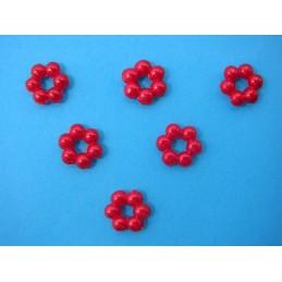 LOT  6 APPLIQUES PERLES PLASTIQUES  : fleur rouge 7mm