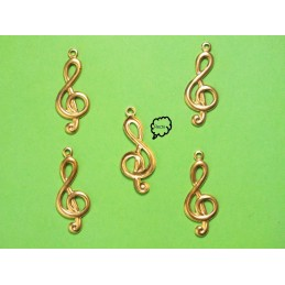 LOT  5 CHARMS METALS DORES : Clef sol 21 mm