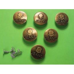 LOT 6 BOUTONS METAL 20mm (n°45) : rond à pression pour jean