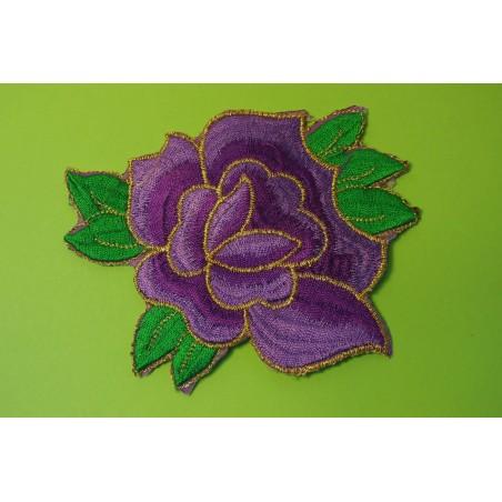 APPLIQUE TISSU THERMOCOLLANT : fleur mauve/violet 110 x100mm