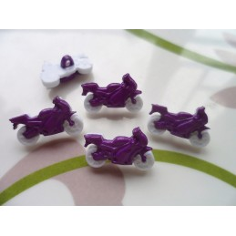 LOT 6 BOUTONS : moto blanche/violette 20mm