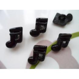 LOT 6 BOUTONS : note musique noir 15mm