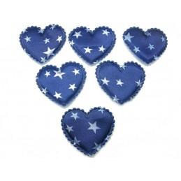 LOT 6 APPLIQUES : coeur satin etoile bleue 43mm