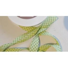 BIAIS POLY-COTON 3 METRES : vert clair/blanc largeur 25mm