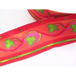 RUBAN POUR FLEURISTE :  rouge motif feuille largeur 40mm