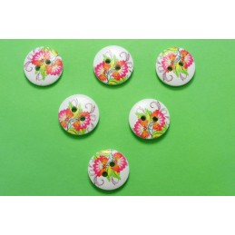 LOT 6 BOUTONS BOIS : rond motif fleur 15mm (41)