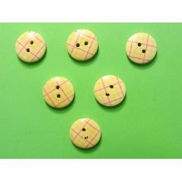 LOT 6 BOUTONS BOIS : rond motif écossais jaune 15mm