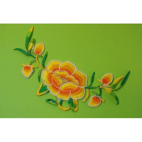 APPLIQUE TISSU THERMOCOLLANT : fleur 130 x50mm