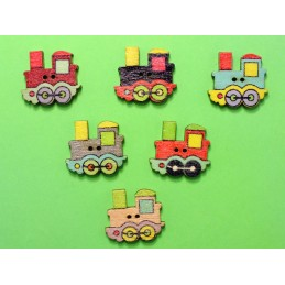 LOT 6 BOUTONS BOIS : locomotive 24*22mm (01)