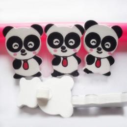 LOT 6 BOUTONS BOIS : panda blanc/noir 29*22mm (02)
