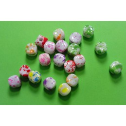 20 perles cubes arrondis multicolore marbré 9 mm