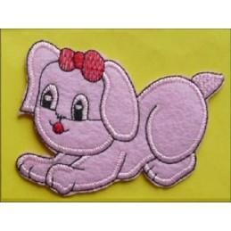 APPLIQUE TISSU THERMOCOLLANT : chien rose 80 x60mm
