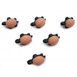 LOT 6 BOUTONS : tortue noir/saumon 22mm