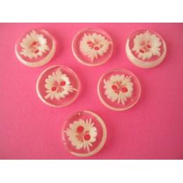 LOT 6 BOUTONS : rond motif fleur abricot 13mm