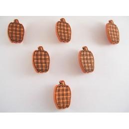 LOT 6 BOUTONS : pomme orange/noir 21mm