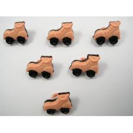 LOT 6 BOUTONS : patin à roulette saumon/noir 16mm