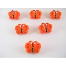 LOT 6 BOUTONS : papillon orange/rouge 18mm