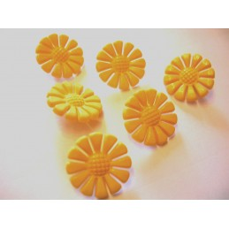 LOT 6 BOUTONS : marguerite jaune 19mm