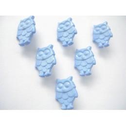 LOT 6 BOUTONS : hibou bleu...