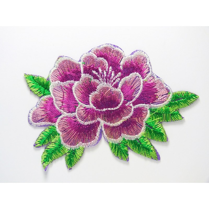 APPLIQUE TISSU THERMOCOLLANT : fleur violette 85 x55mm