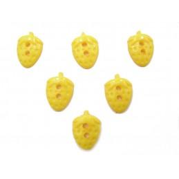 LOT 6 BOUTONS : fraise jaune 15mm