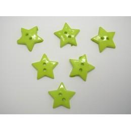 LOT 6 BOUTONS : etoile vert 19mm
