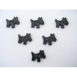 LOT 6 BOUTONS : chien noir 18mm
