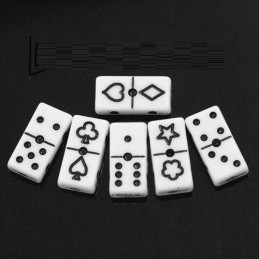 10 perles acryliques forme domino blanc/noir 20*10mm