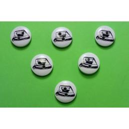 LOT 6 BOUTONS BOIS : rond motif theme mercerie fer à repasser 15mm
