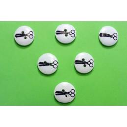 LOT 6 BOUTONS BOIS : rond motif theme mercerie ciseau 15mm