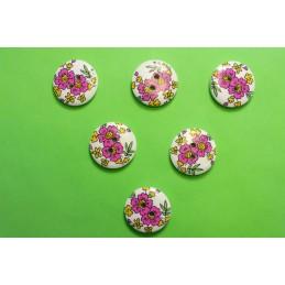 LOT 6 BOUTONS BOIS : rond motif fleur 20mm (n°11)