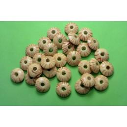 30 perles rondelles bois écru et orange 14mm (09)