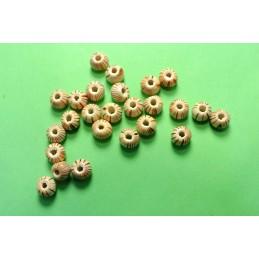 25 perles rondes bois écru marbré rouge et marron 6mm (08)