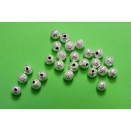 LOT 25 PERLES METALS : rondes argentées pailletées 5mm