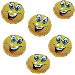 LOT 6 BOUTONS BOIS : rond motif Smiley 24mm